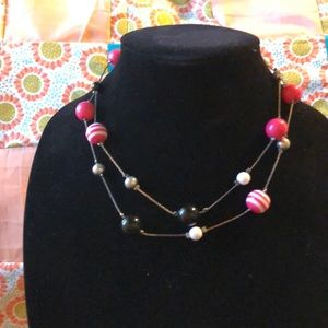 Jewelry - Pink, black, and white necklace